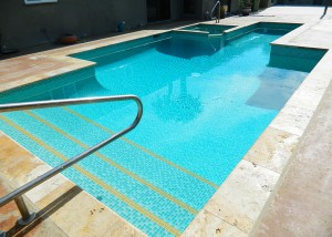 Palm Springs pool and spa remodel, custom two color green crystal mix