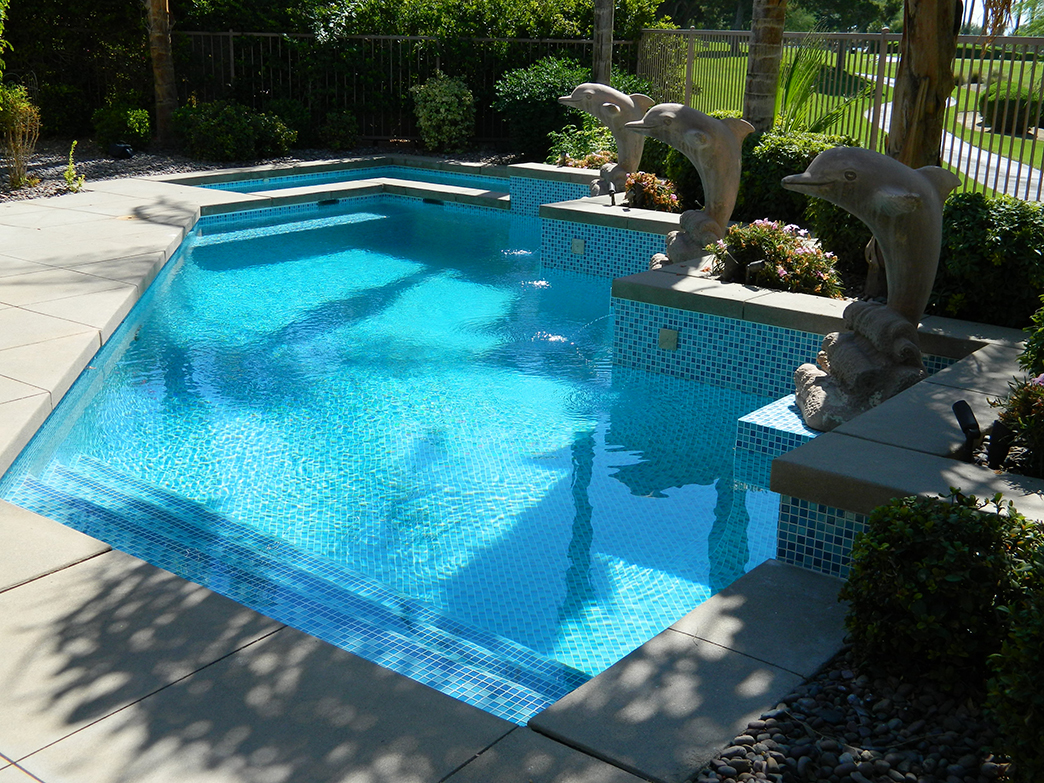 Sun City pool and spa remodel, three color aqua mix, dark accents