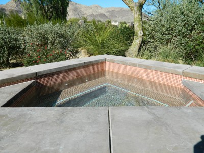 Bighorn spa remodel, earth color crystal tile, white single line accent