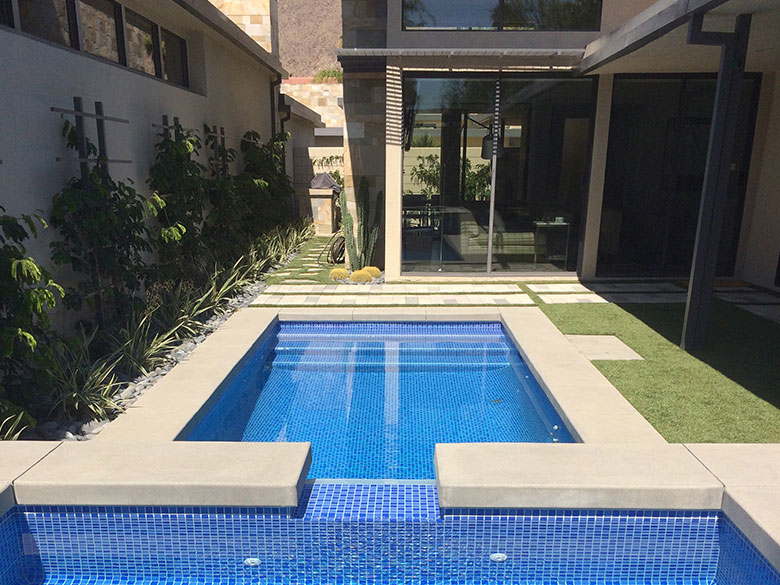 Palm Springs pool and spa remodel, two color blue crystal mix