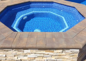 Indian Wells spa remodel, two color crystal tile mix, double accent lines