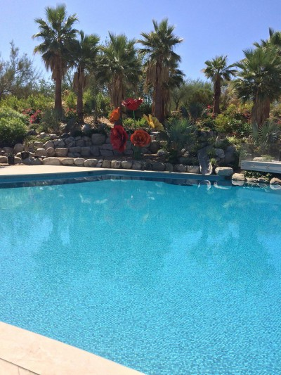 Palm Desert New Pool Infinity Edge Custom Mix Tile