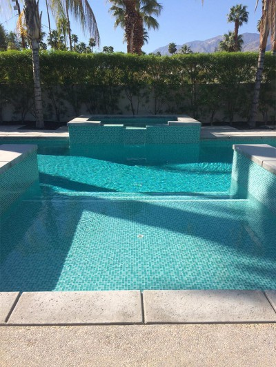 Palm Springs Pool & Spa Remodel Custom Two Color Green Mix