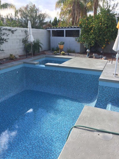 Rancho Mirage Pool & Spa Remodel Crystal Tile & Special Waterline