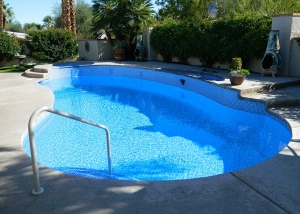 Indian Wells pool and spa remodel, three color crystal tile mix