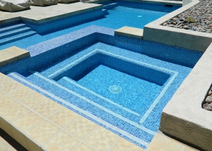 South Palm Springs remodel, Blue/Gold tile with Ivory/Gold accents
