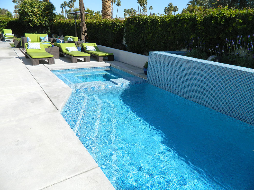 Palm Springs pool and spa remodel, painted crystal tile