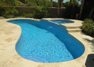 Cathedral City pool and spa remodel, 3 color crystal tile mix