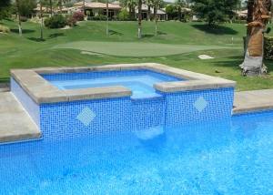 La Quinta pool and spa remodel with spa wall accents