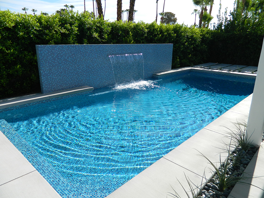 South Palm Springs pool remodel, Painted crystal tile