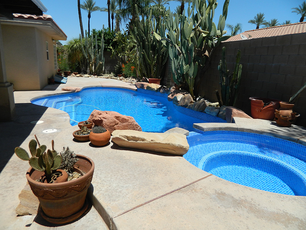 Palm Desert pool and spa remodel, two color crystal tile