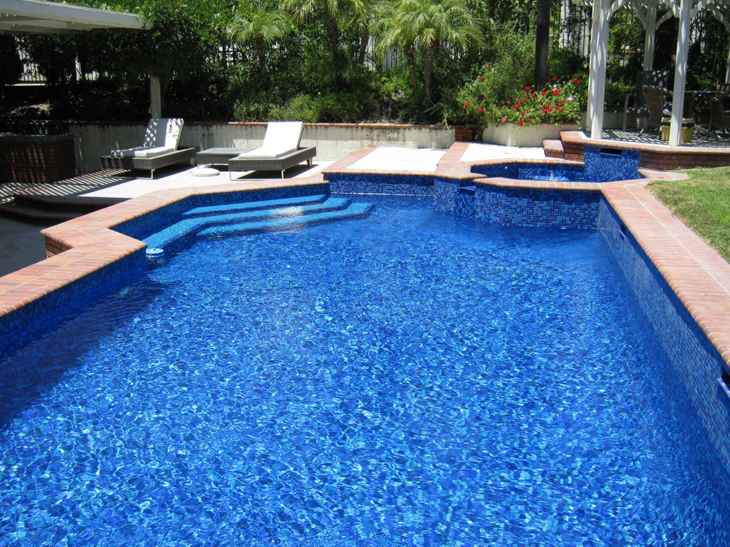 Coto de Caza pool and spa remodel, special step top accent