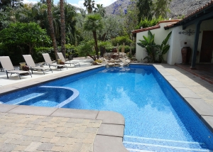 South Palm Springs Pool & Spa Remodel, Gold Accent Tile