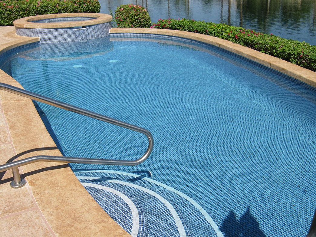 Lake La Quinta Pool & Spa Remodel, Tile Around Raised Spa