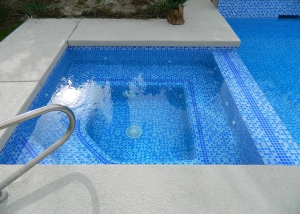 Rancho Mirage spa remodel, 3 color tile mix, extra accent on dam wall