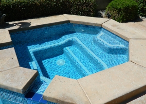 Rancho Mirage spa remodel, Painted crystal tile, two line accent