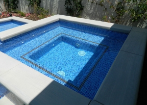 Rancho Mirage new spa, custom Blue/Gold tile, two line accents