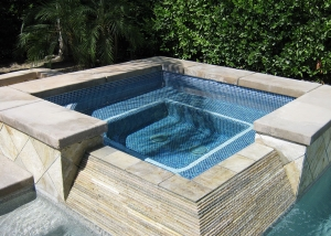 Indian Wells spa remodel, Blue/Green/Gold tile with Ivory accent